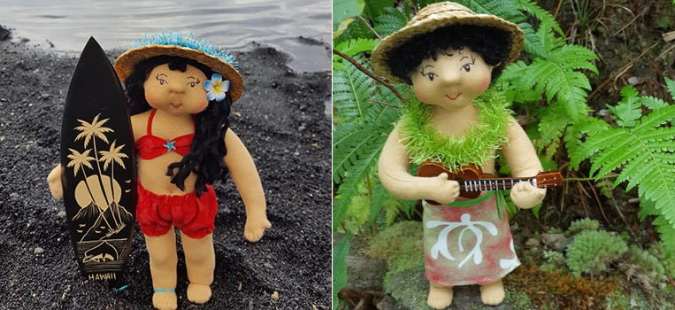 <h2>Kimo and Mahea</h2> <p>Huggable Hawaiian Art Dolls</p>